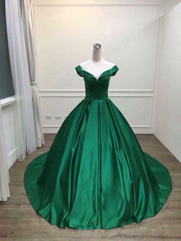 Robe De Soirée 2018 V-cou Corsage Robe De Bal Vert Longue Robe De soirée Partie Élégante tenue De fête expédition rapide robes De bal - 2