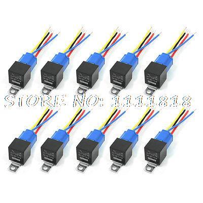 40A 12V DC Harness Wire Ceramic Socket Car Stereo Alarm SPDT NC+NO Relay 10 Pcs 10 pcs ceramic socket green pilot lamp 5 pin no nc spdt car relay dc12v 40a amp