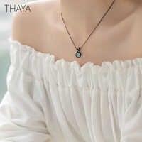 Thaya Design Original Colar de Bela Adormecida S925 Prata Artesanal de Cristal Curto Clavícula Cadeia de Jóias de Presente