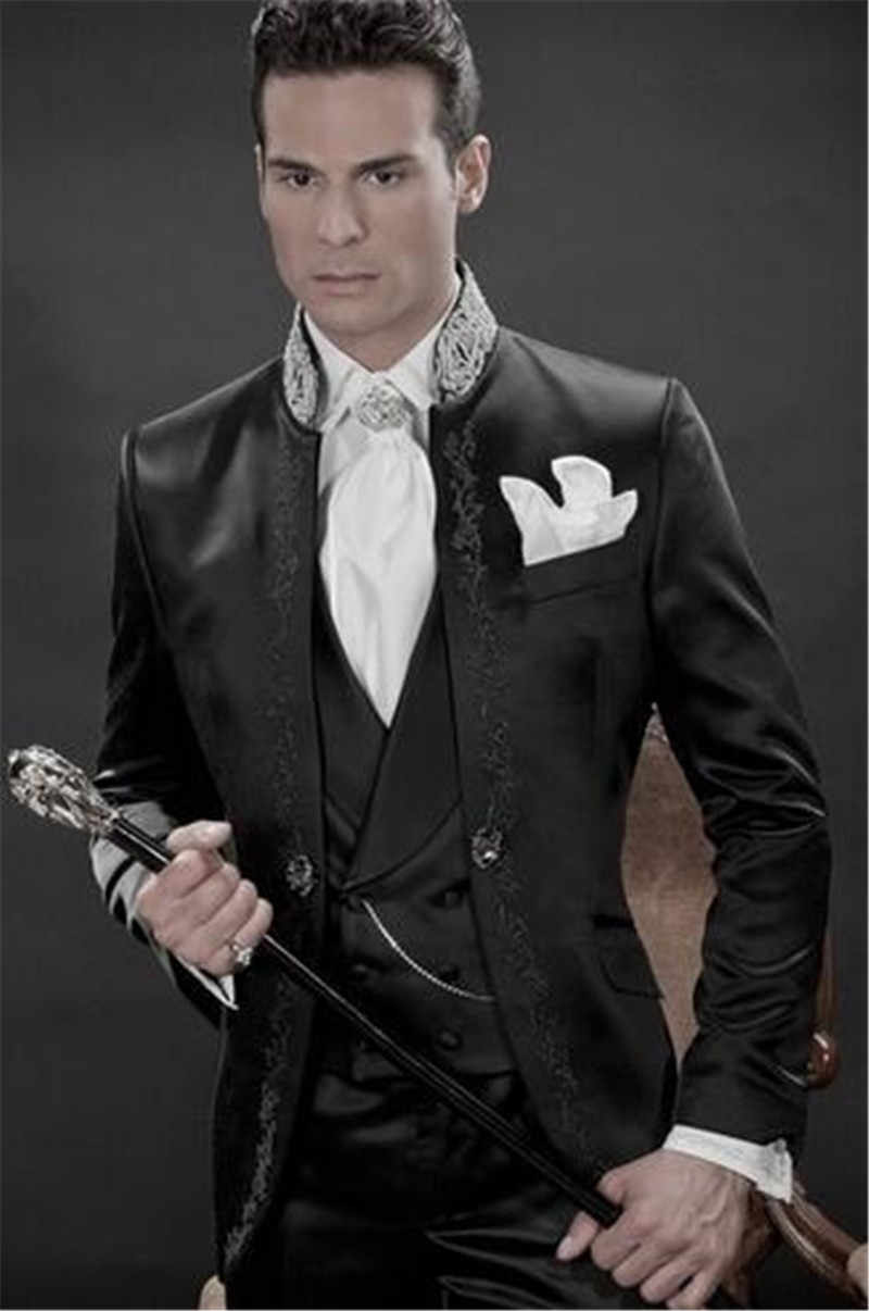 TPSAADE 新到着刺繍花婿の付添人ックマンダリンラペルベストマン新郎タキシード黒人男性スーツウェディング最高の男 (ジャケット + パンツ + ベスト)