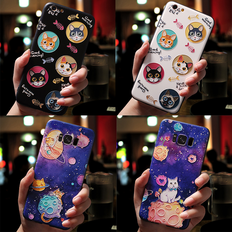 3D Cartoon <font><b>Cat</b></font> Emboss <font><b>Case</b></font> For <font><b>Samsung</b></font> <font><b>Galaxy</b></font> S6 S7 Edge S8 S9 S10 S10e Plus A9 <font><b>A8</b></font> A6 Plus A7 <font><b>2018</b></font> Star A3 A5 2017 2016 <font><b>Case</b></font> TPU image