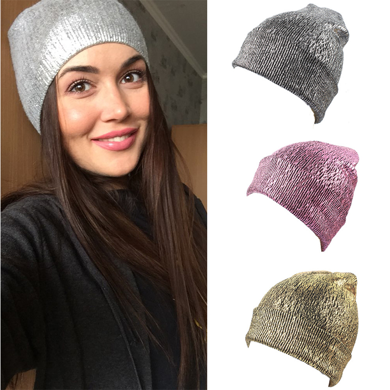 Autumn Winter Unisex Acrylic Knitted Beanie Ins Gold Silver Metallic Cap Hat Skullies Girls New Beanies Caps