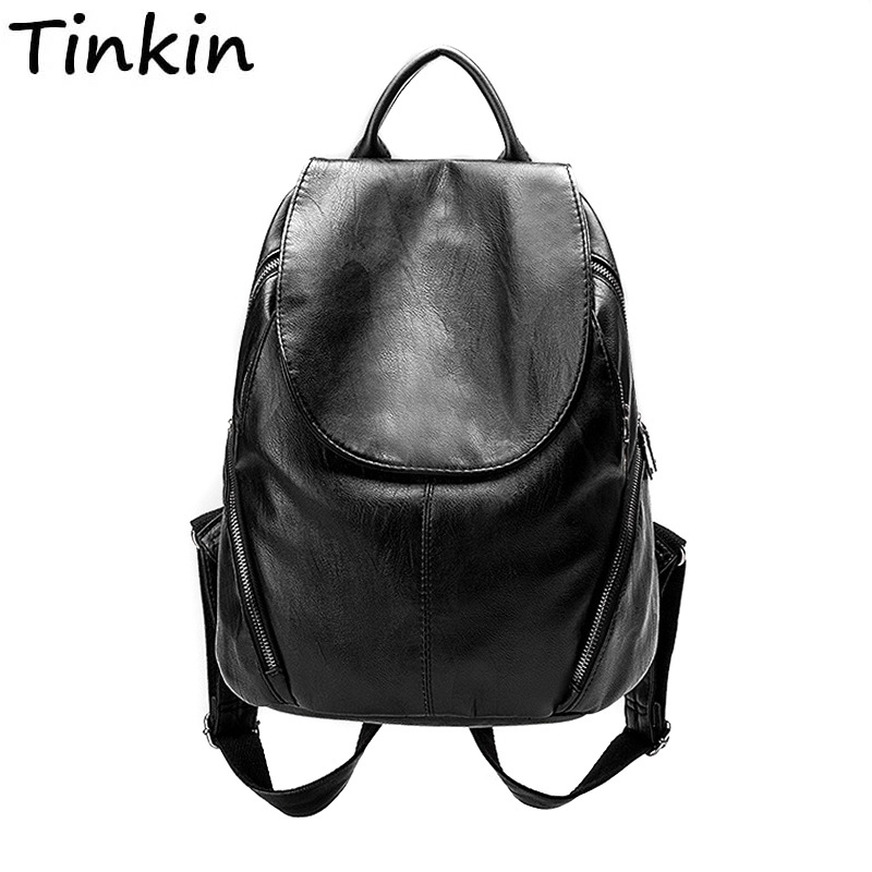 Women Backpack Shoulder-Bag Travel-Bag Large-Capacity Simple-Style Soft Pu Sewing-Thread