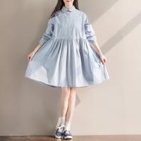 Blue Plaid Loose Long Sleeved Shirt Dress
