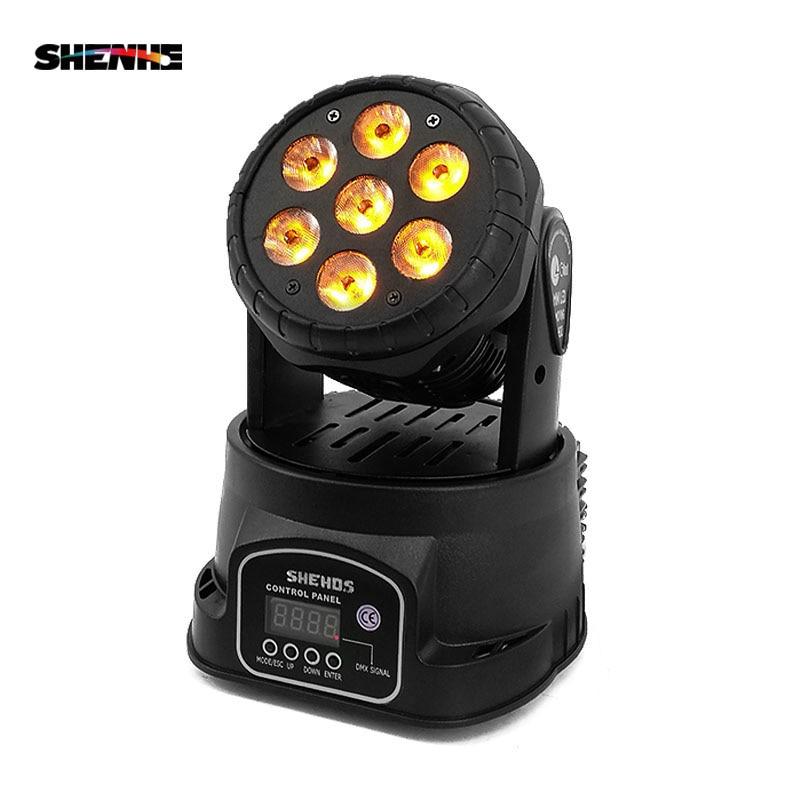 Moving Head LED Wash Stage Lighting 7x18W RGBWA+UV 6in1 Professional DMX512 For Disco DJ Music Party KTV Nightclub Lights