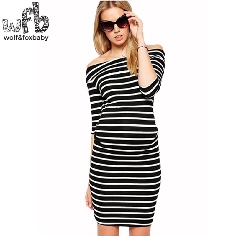 Retail Pregnant women Large size dress striped half-sleeves Slim Fit Strapless shoulderless casual summer