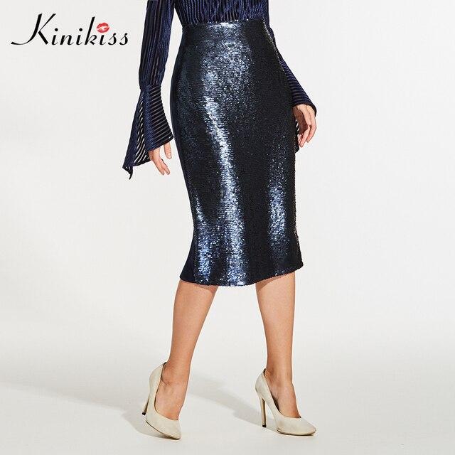 Kinikiss Для женщин темно-синий Блёстки Юбки-карандаши элегантный Высокая талия Бархат Миди-юбки модные пикантные женские офисные Bodycon Юбки для женщин