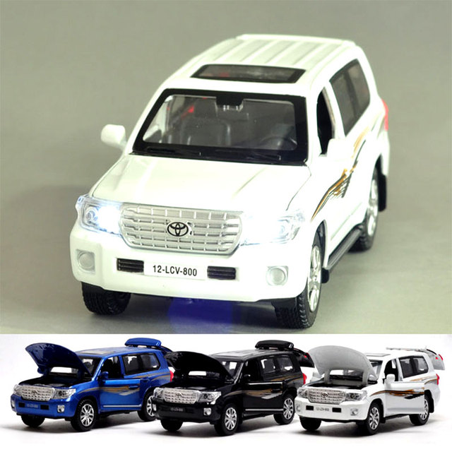1:32 TYT Land Cruiser Diecast Metal Car Model Pull Back Simulation Alloy Cars with Sound and Light Boys Favourite Autos Oyuncak