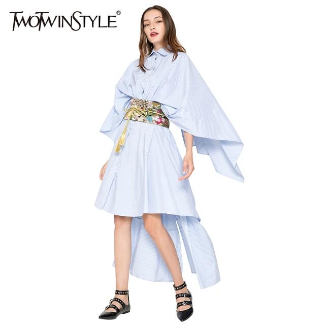 Twotwinstyle полосатый спинки длинное летнее платье женские Вечеринка Платья Белая Рубашка Туника сексуальная одежда большие Размеры