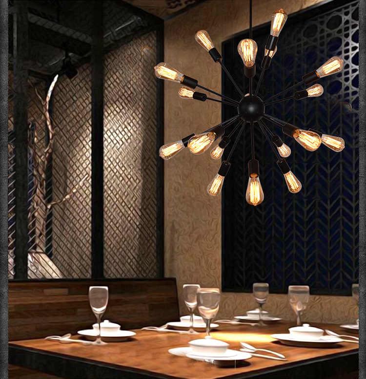 E27 Lâmpadas Edison Vintage Luz Pingente de Loft Industrial 12/16/18/20 Cabeça Sputnik Pingente LampAC110V 220 v Bar Restaurante Luzes