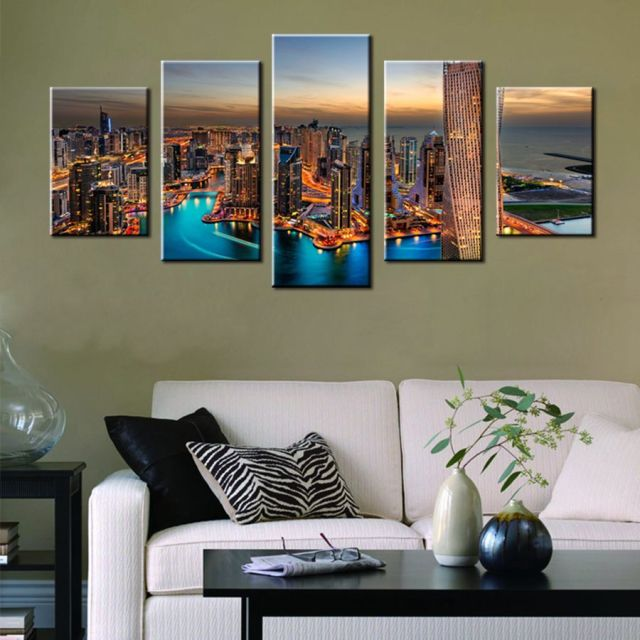 Las vegas dubai kota night view indah adegan landscape cetak kanvas lukisan modern home decor wall