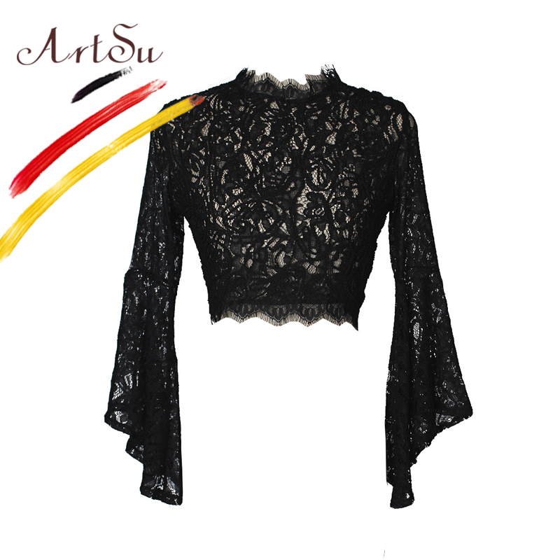 ArtSu Women Black Sexy See Through   Blouse   Ladies Chic Flare Sleeve Lace Blusas Casual Crop Top Floral Print Zipper   Blouses     Shirt