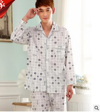 MLXSLKY Pajamas Suit Cotton Men's Home Autumn Thin Cardigan Pants Spring Lapel Long-Sleeved