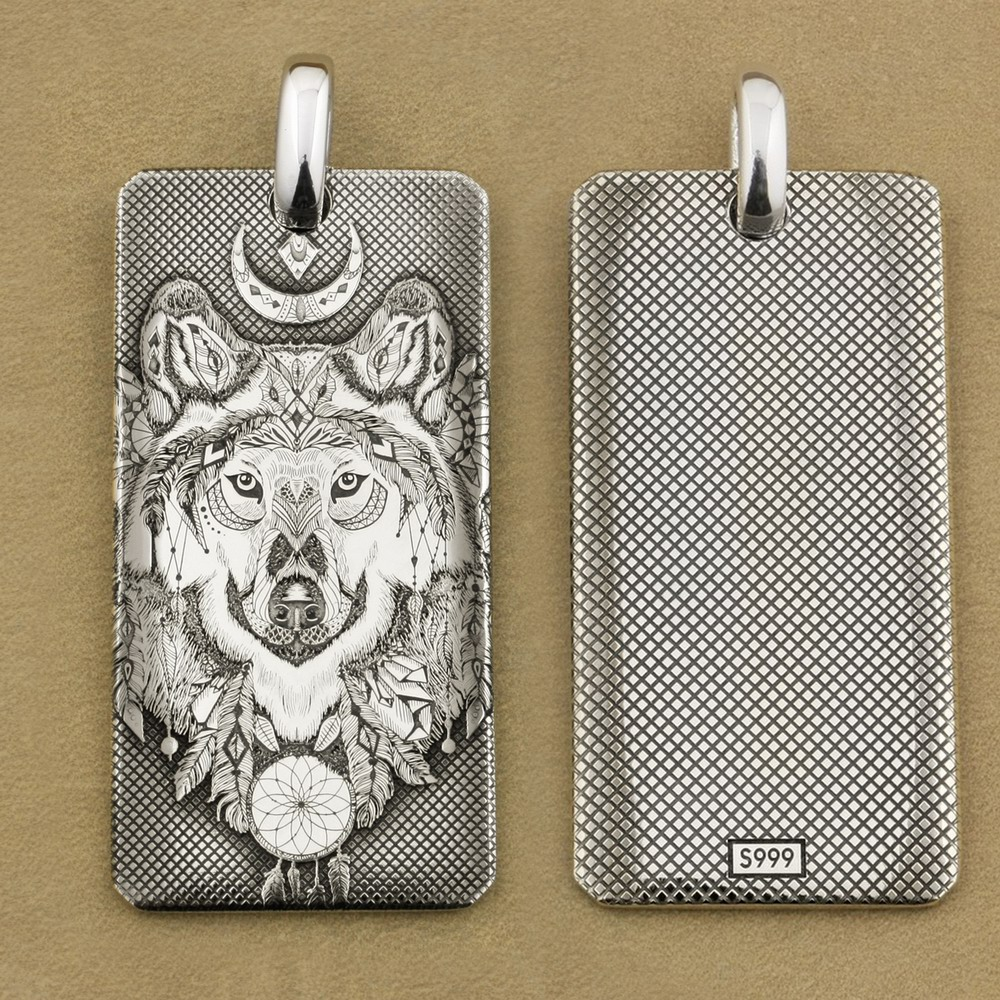 Deep Laser Engraved 999 Pure Silver Indian Wolf DogTag High Details Mens Biker Punk Pendant 9X031S Just Pendant