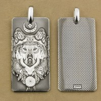Deep Laser Engraved 999 Sterling Silver Indian Wolf DogTag High Details Mens Biker Punk Pendant 9X031S Just Pendant