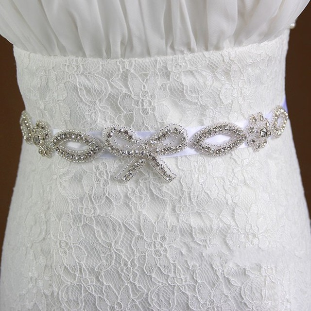 Fashion Beading Crystals Bow Bridal Sash Rhinestone Wedding Sashes Bridal Belts cinturon novia