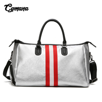 Soft Leather Gym Bag Sports Yoga Fitness Handbag 2019 Women Weedend Travel Bag Hand Luggage Bag Duffel Bolsa Sac De Sport Silver