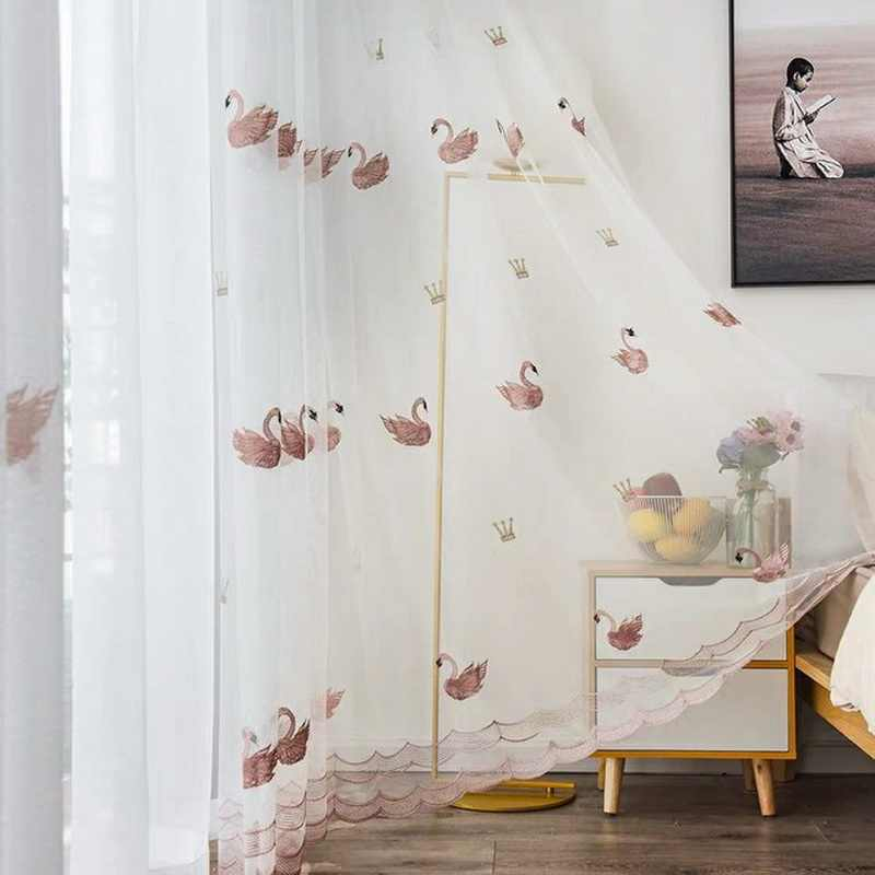 Embroidered Pink and White Swan Patterned Sheer Voile Curtains for Balcony Net Fabric Girls Tulle Curtain Window Gauze M0623