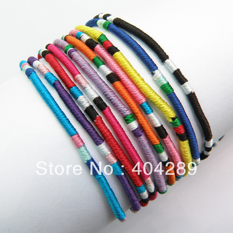 Whole 120pcs Mixed Color Macrame Silk Handmade Friendship