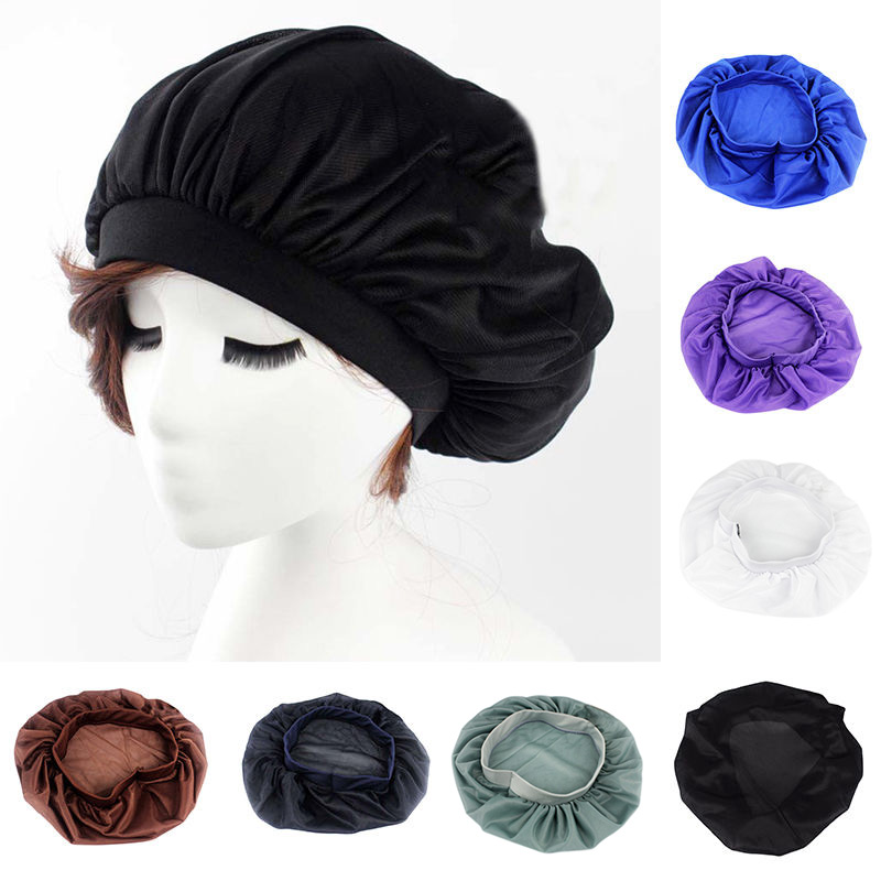 Night Sleep Hat Satin Bonnet Chemo Cap Head Wrap Cover Long Hair Care Tool -MX8