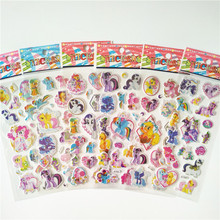 6 sheets my little Horse Stickers Cartoon Anime Toy girl Unicorn for Portable Luggage Skateboard Ponies bubble
