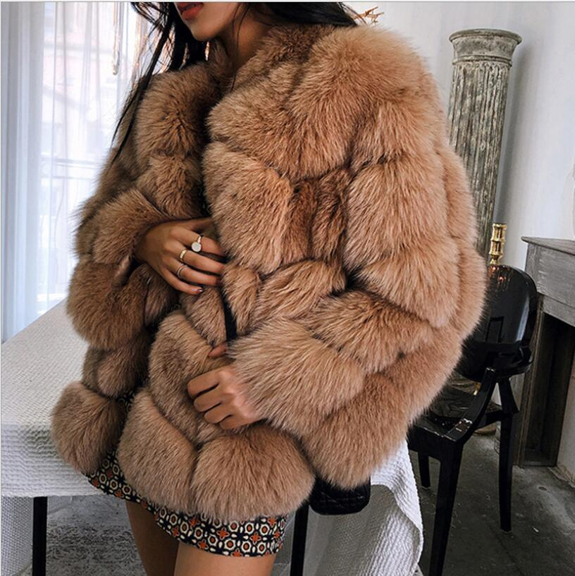 2018 New Winter Imported Fox Fur Coat Female Temperament Warm Womens Plus Size Fashions Faux Fur Coat Three Quarter Sleeve Coat
