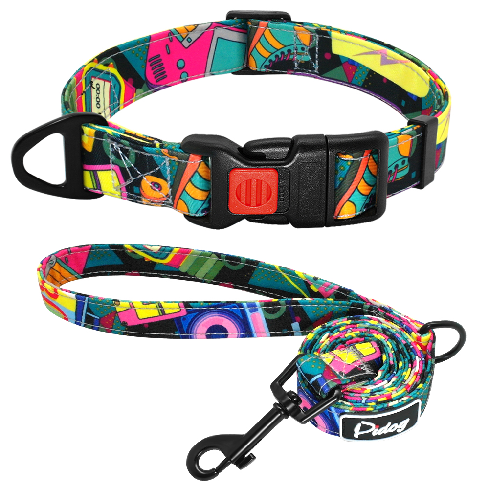 Leash - Printed Dog Collar Nylon Dog Walking Leash Pet Collar Leash for Puppy Small Medium Dogs Chihuahua French Bulldog Pitbull