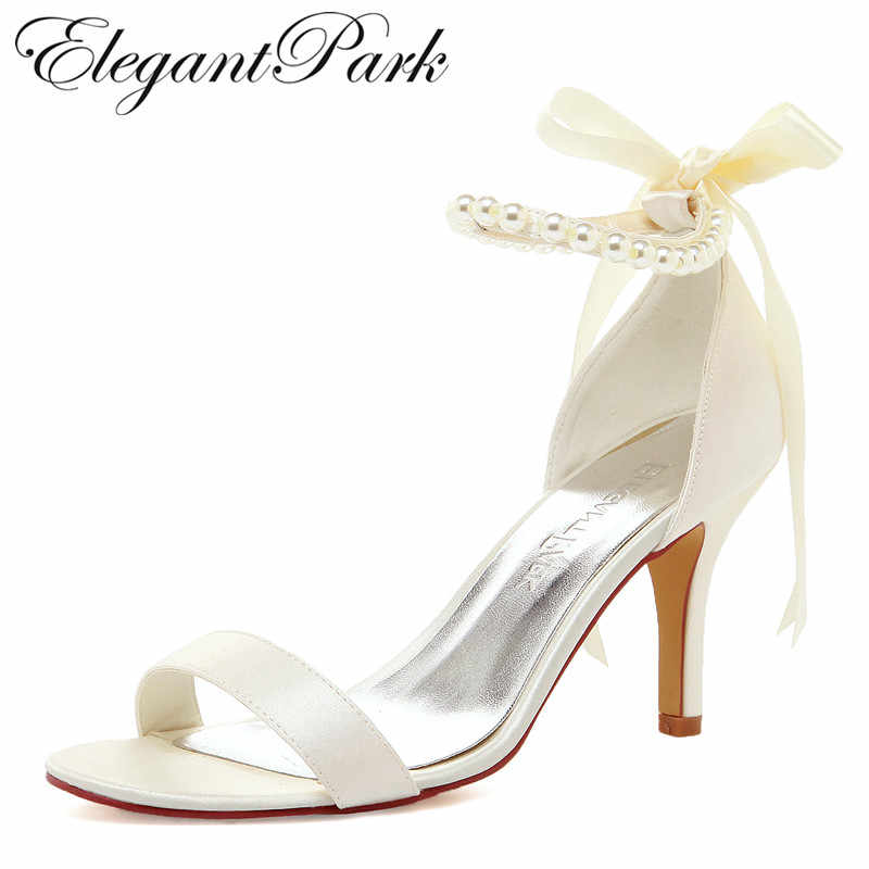 aa41929b80a Summer Women Sandals EP11053N Ivory White High Heel Pearls Ankle Strap  Satin Lady Bride Evening Party