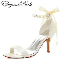 Elegant Sandals For Bride EP11053 Open Toe Pearls Flower Rhinestone Ribbon Lace Up Thin Heel Satin