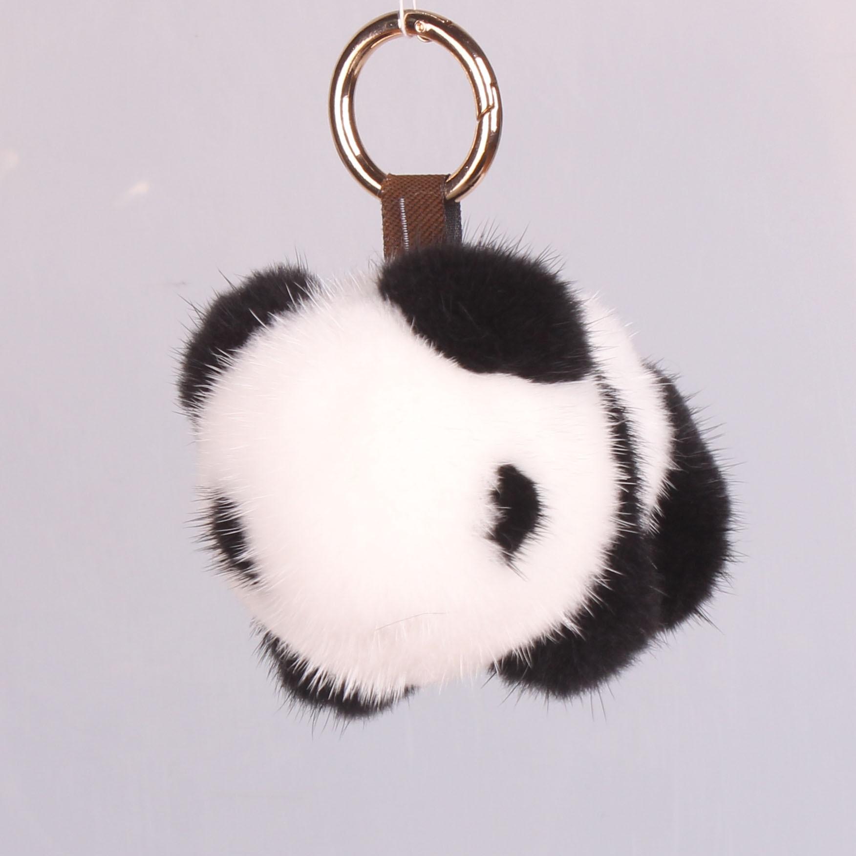 Panda Keychain Mink Panda jewelry plush ornaments fur bag pendant keychains key chain key chains cute keychain fur keychain|Key Chains| - AliExpress