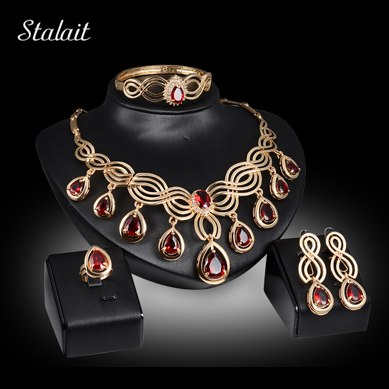 Gold Color Jewelry Sets Nigerian Statement Women Jewelry Set Red Crystal Necklace Earring Bangle Ring Wedding Set