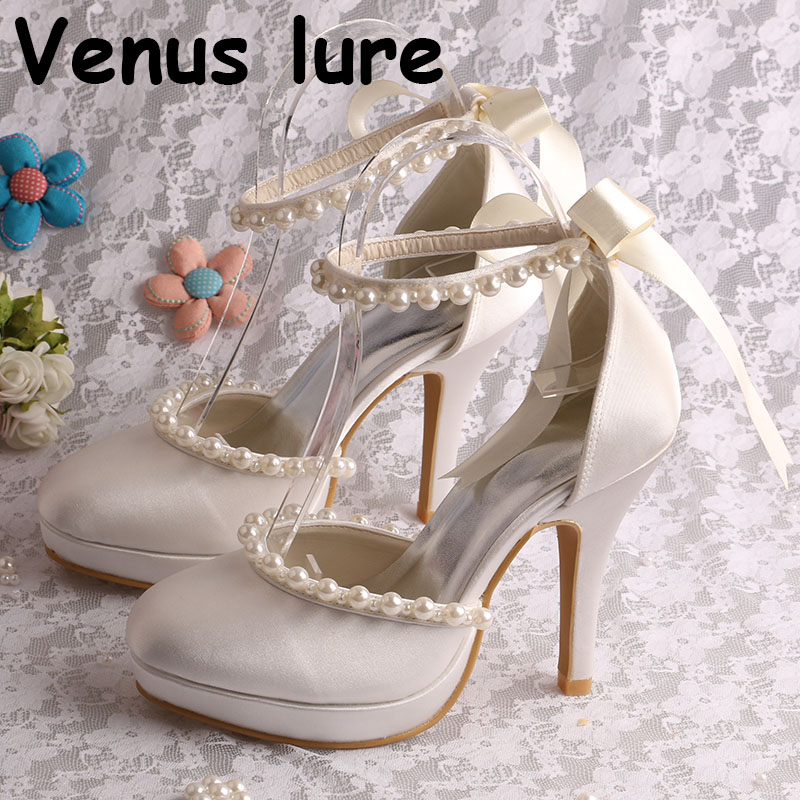 Ivory White Club Heel Shoes with Ankle Strap Pearl Wedding Shoes Bridal Ivory White Club Heel Shoes with Ankle Strap Pearl Wedding Shoes Bridal