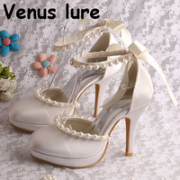 Ivory White Club Heel Shoes with Ankle Strap Pearl Wedding Shoes Bridal