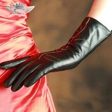 Women Leather Gloves Fashion Genuine Top Quality Black Wrist Goatskin Winter Sheepskin Driving 308