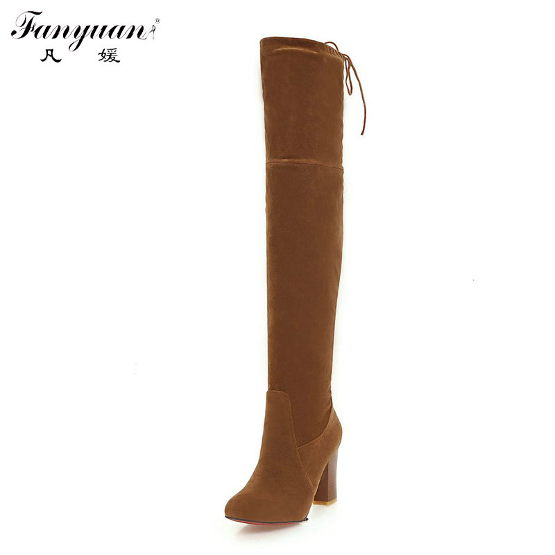ФОТО Fanyuan 2016 Woman Faux Suede Long Boots Girls' Slip-On with Back Lace-Up Bow Over the Knee Knight Boots