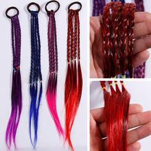 Женские цветные пряди для волос, повязка на голову, плетеная повязка на голову для детей, эластичная резинка для волос, аксессуары для волос