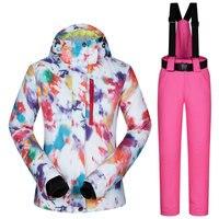 Лыжный костюм Для женщин зимняя Лыжная куртка брюки Водонепроницаемый Лыжный Спорт Сноубординг костюмы женская уличная спортивная одежда