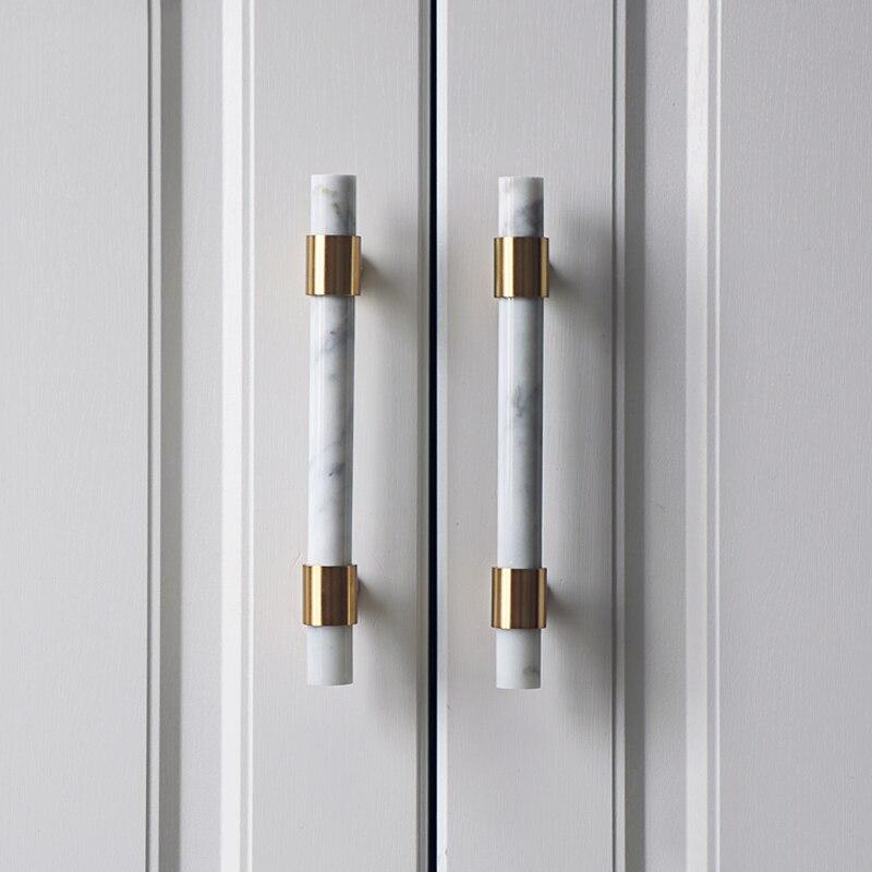 Pedra natural + botões de bronze europeu t barra alças gaveta puxa armário de cozinha puxadores e alças ferragens móveis