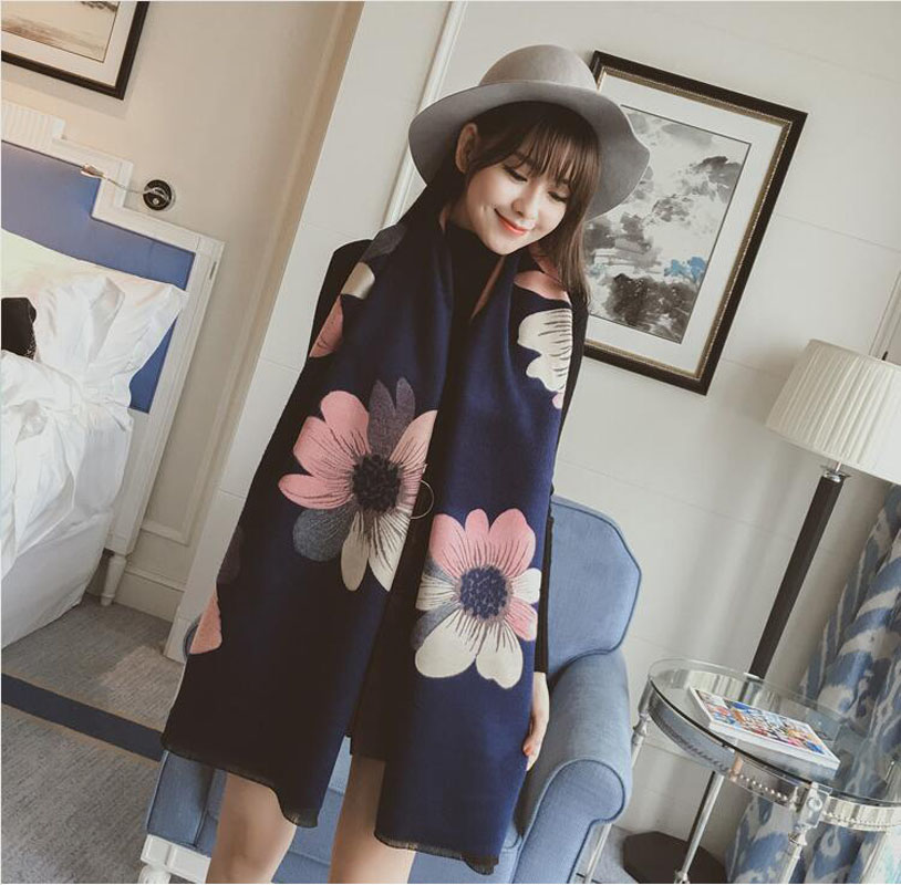190*70CM NEW Winter women scarf printing big Flower Pashmina Cashmere Scarf For Women Warm Top quality Fashion women Shawal