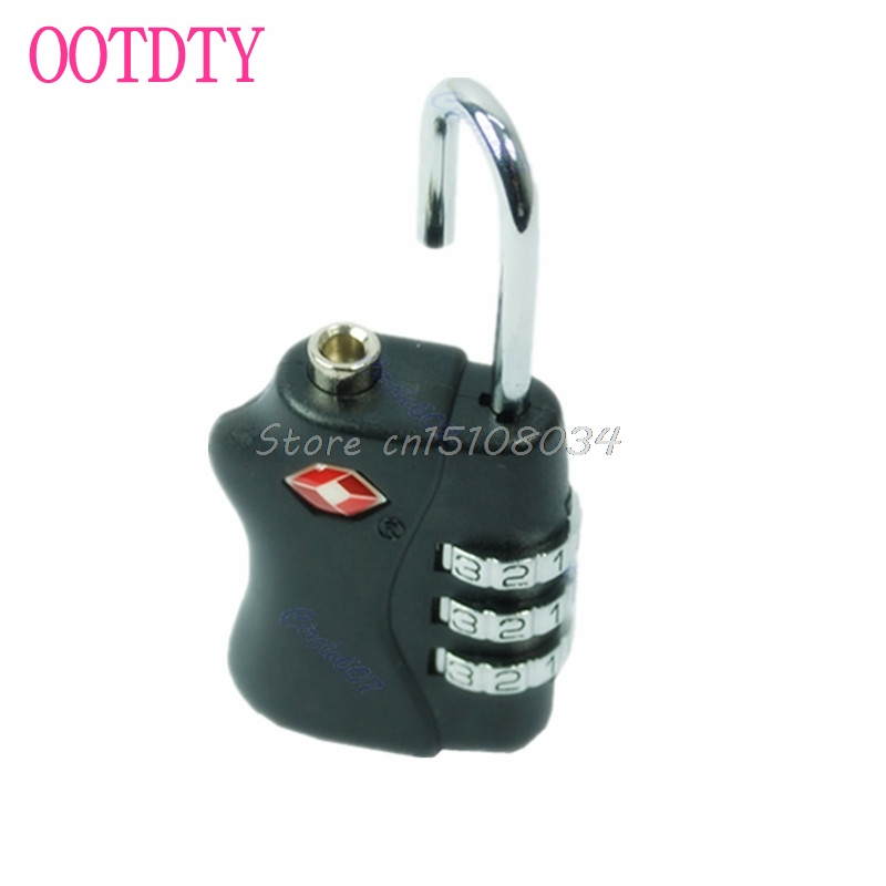 New TSA Resettable 3 Digit Combination Travel Luggage Suitcase Lock Padlock BK S08 Drop ship new mini 3 digit resettable combination luggage suitcase lock padlock gray 05b