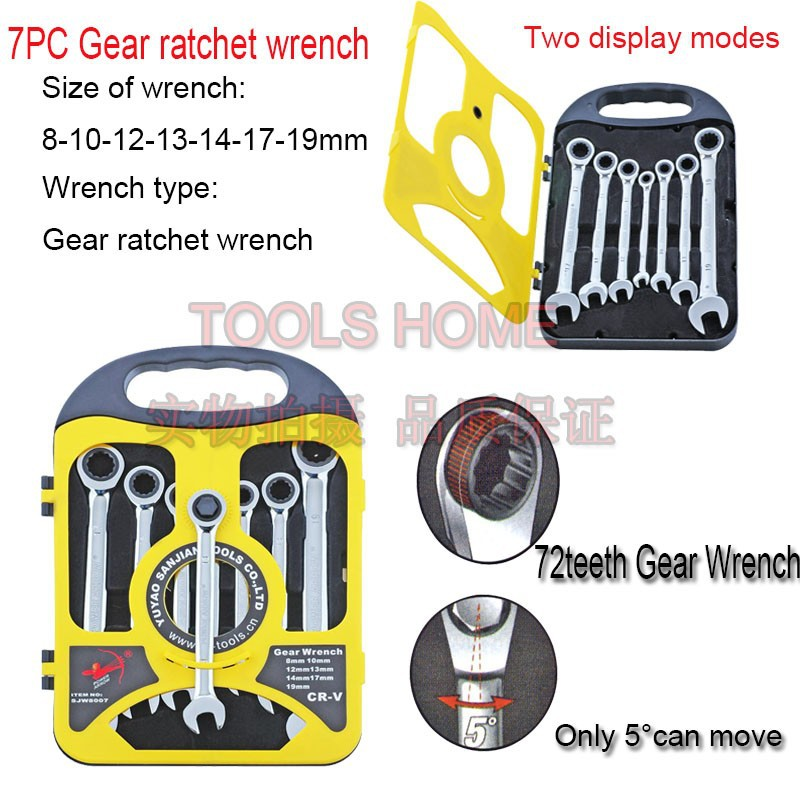 7PCS/set metric Ratchet Spanner Combination wrench set ratchet handle tool ratchet skate tools Plastic frame spanner set круг лепестковый радиальный кл fit 39603 для дрели 80 х 40 х 6мм р60