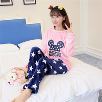 Winter new High quality flannel women pajamas Set Round Neck home clothing Long sleeved trousers cartoon pictures nightgown