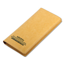 Genuine Leather Long Slim Men's Wallets  Long Design Multifunctional Cow leather Purses