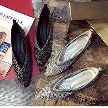 SWYIVY Womants حذاء مسطح حجر الراين الخريف الربيع جديد الإناث الفاخرة الكريستال حذاء كاجوال أشار تو الشقق مريحة 40 حجم