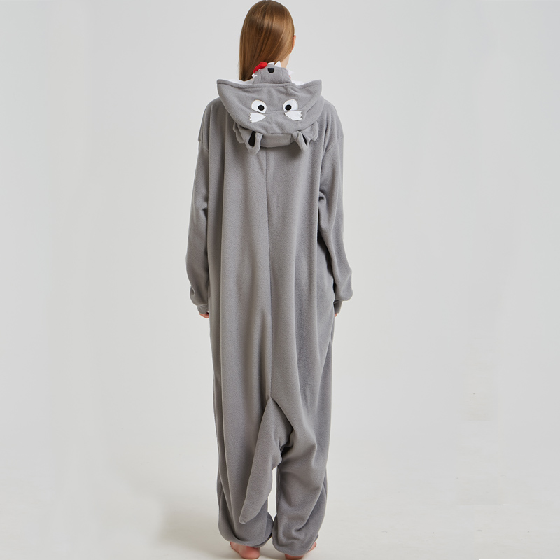 Fancy Grey Wolf Kigurumi Pajama Animal Adult Onesies For Women Pyjamas One-Piece Sleepwear Pyjamas Halloween Christmas Party (2)