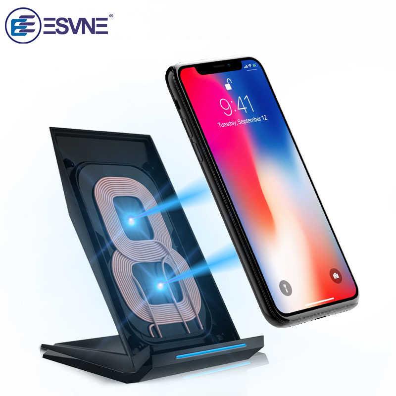 Esvne Qi Wireless Charger UNTUK Samsung S6 Galaxy S7 iPhone 8 Plus X Ponsel Ponsel Cepat Stand USB Nirkabel pengisian Qi