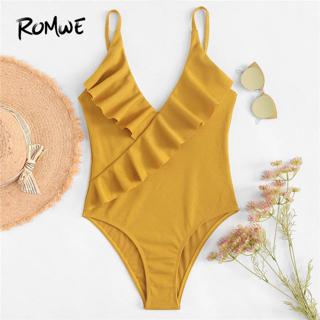 Romwe Sport Ginger Ruffle Plain Swimsuit Women Summer Chest Pad Swimwear  Beach Slim Sexy One Pieces Plain Female Monokinis 652e6b7ff366