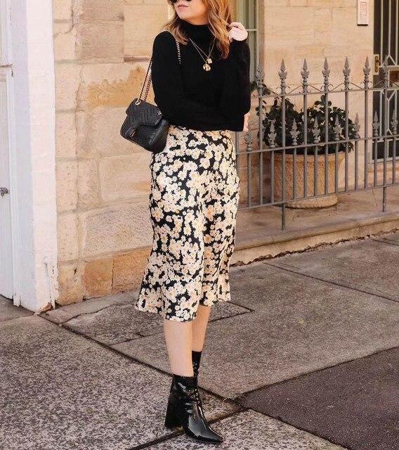 1f7180198c0d 2018 NEW 100% Silk Satin Daisy Floral Print Midi Skirts The Naomi - easy  90 s slip skirt 3 4 length elastic waistband Hot Sale