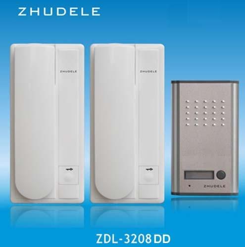 ZHUDELE  Home Security Doorphone ZD-3208DD   Audio Doorbell ,2- wire intercom system unlock function 1Outdoor station+2 handles