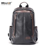 Wellvo Men Backpack Leather Large Travel Laptop Bag For Teenage School Daypacks Men S Patchwork Schoolbag